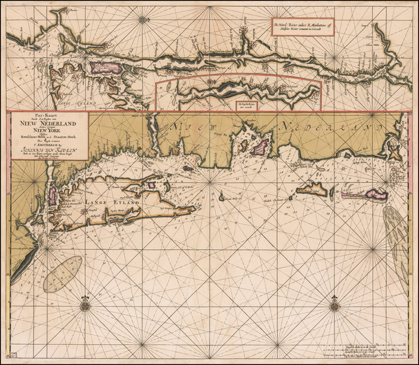 93-New England, Connecticut, Massachusetts, Rhode Island and New York State Map By Johannes Van Ke