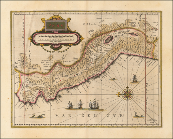 2-South America and Peru & Ecuador Map By Willem Janszoon Blaeu