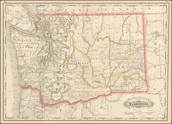 85-Washington Map By George F. Cram