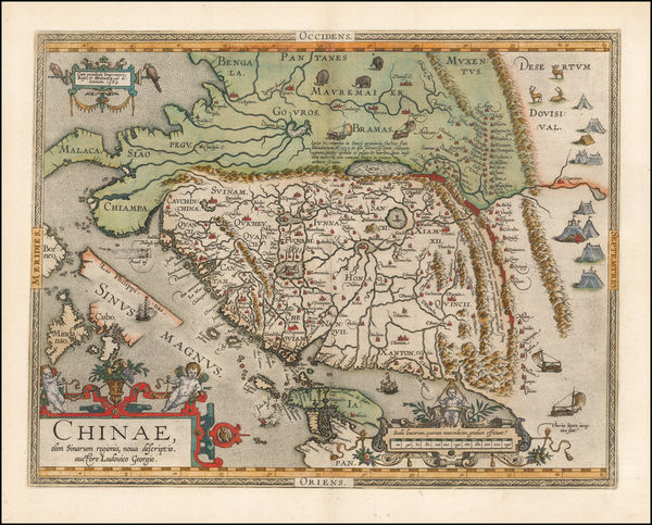 97-China, Japan, Southeast Asia and Philippines Map By Abraham Ortelius