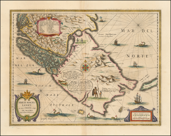 34-Polar Maps, Argentina and Chile Map By Willem Janszoon Blaeu