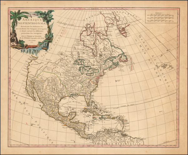 90-North America Map By Gilles Robert de Vaugondy