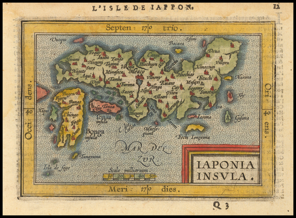 67-Japan Map By Abraham Ortelius / Johannes Baptista Vrients