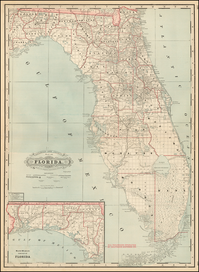 66-Florida Map By George F. Cram