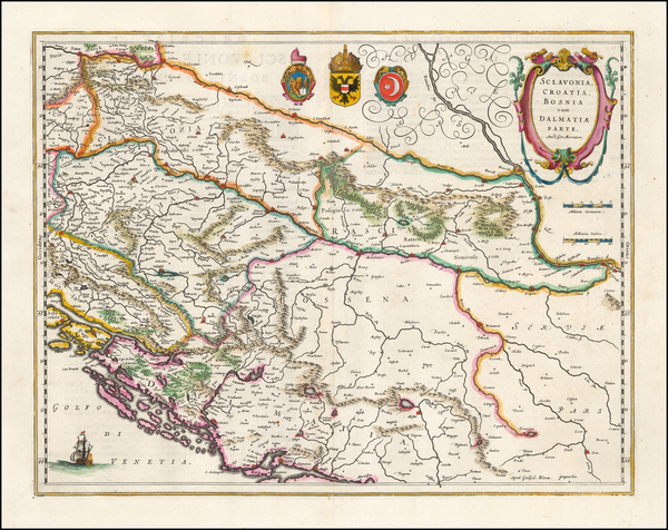50-Balkans, Croatia & Slovenia, Bosnia & Herzegovina and Serbia Map By Willem Janszoon Bla