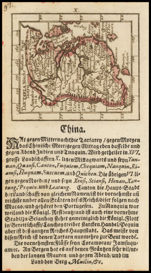 China and Korea Map By Johann Ulrich Muller
