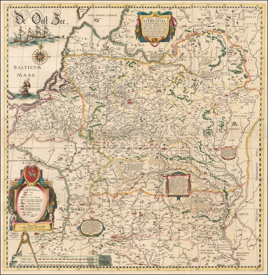 75-Poland, Russia, Ukraine and Baltic Countries Map By Willem Janszoon Blaeu / Hessel Gerritsz