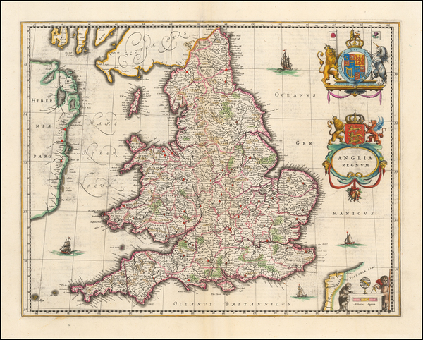 85-England Map By Willem Janszoon Blaeu
