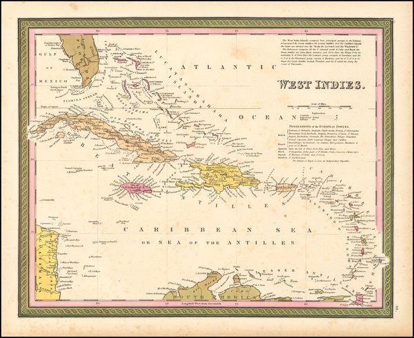 90-Southeast and Caribbean Map By Samuel Augustus Mitchell
