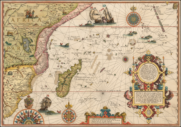 58-Indian Ocean, South Africa and East Africa Map By Jan Huygen Van Linschoten