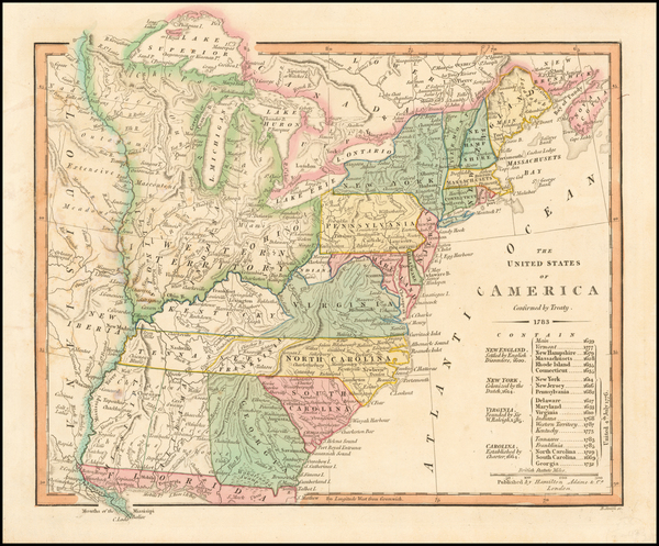 United States and Southeast Map By Hamilton, Adams & Co.