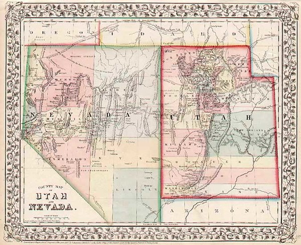96-Southwest and California Map By Samuel Augustus Mitchell Jr.