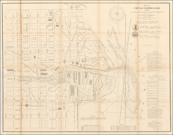 76-Illinois and Chicago Map By U.S. Army Corps of Topographical Engineer