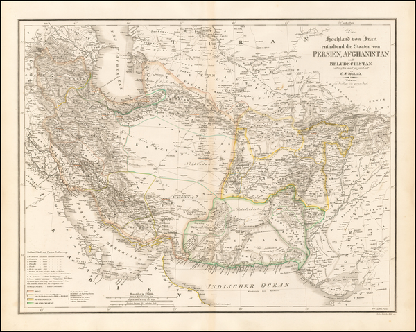 76-Central Asia & Caucasus and Middle East Map By Carl Ferdinand Weiland