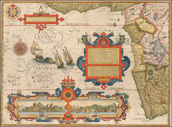 76-Atlantic Ocean, South Africa and West Africa Map By Jan Huygen Van Linschoten