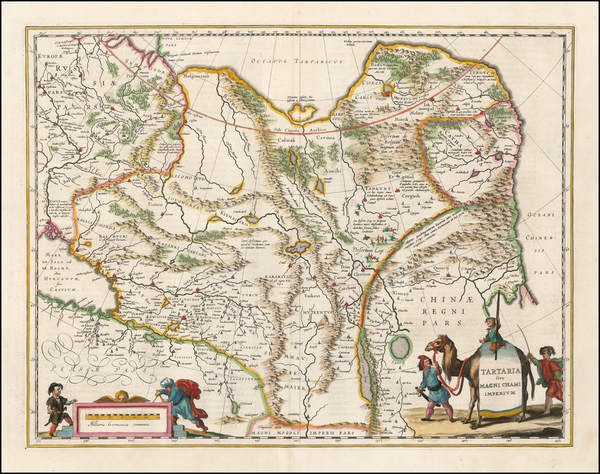 99-China, Central Asia & Caucasus and Russia in Asia Map By Willem Janszoon Blaeu