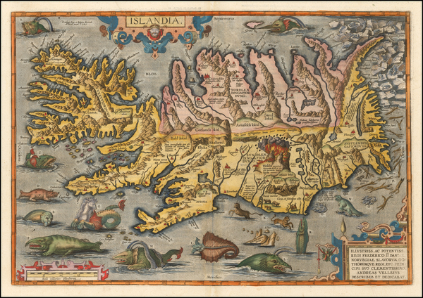 32-Atlantic Ocean, Iceland and Balearic Islands Map By Abraham Ortelius