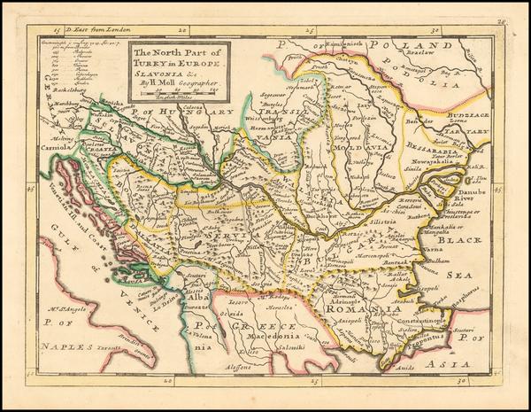 83-Romania, Balkans and Turkey Map By Herman Moll