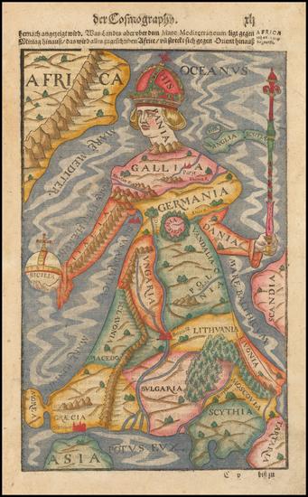 58-Europe, Europe and Comic & Anthropomorphic Map By Sebastian Munster