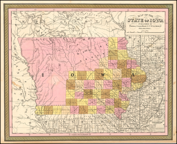 18-Iowa Map By Thomas, Cowperthwait & Co.
