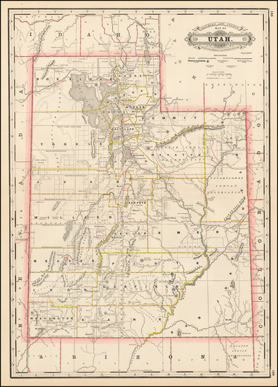 45-Utah and Utah Map By George F. Cram