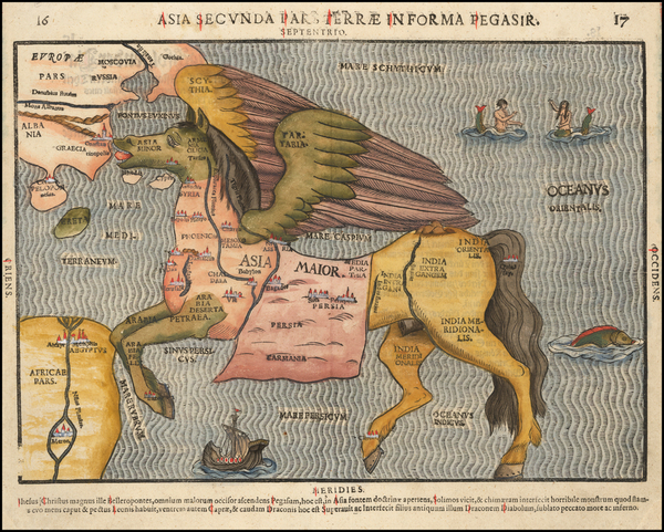 78-Asia, Southeast Asia, Curiosities and Comic & Anthropomorphic Map By Heinrich Bunting