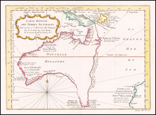 18-Australia Map By Jacques Nicolas Bellin