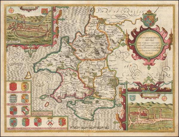 26-Wales Map By John Speed