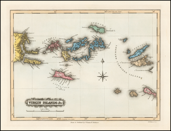 80-Virgin Islands Map By Fielding Lucas Jr.
