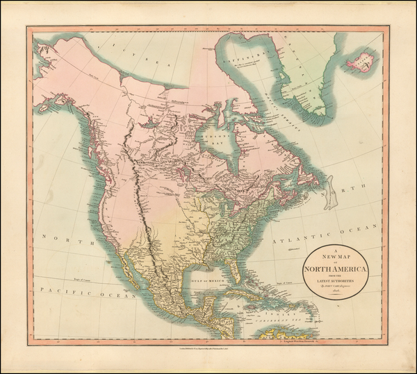 92-North America Map By John Cary