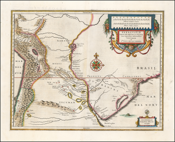 5-Argentina and Paraguay & Bolivia Map By Willem Janszoon Blaeu