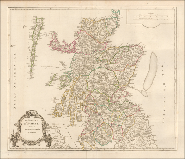 40-Scotland Map By Gilles Robert de Vaugondy
