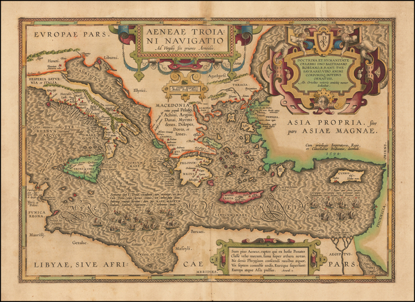 90-Italy, Greece, Turkey, Mediterranean and Turkey & Asia Minor Map By Abraham Ortelius