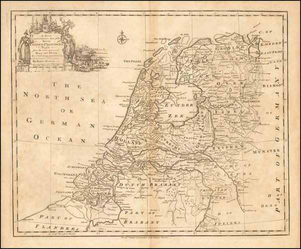 Netherlands Map By Emanuel Bowen