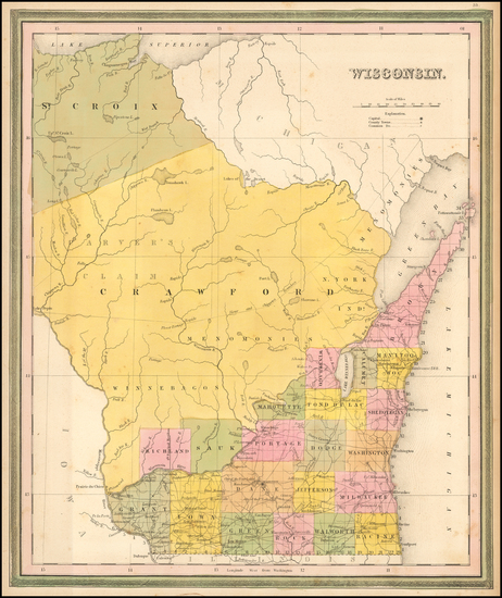 72-Wisconsin Map By Samuel Augustus Mitchell
