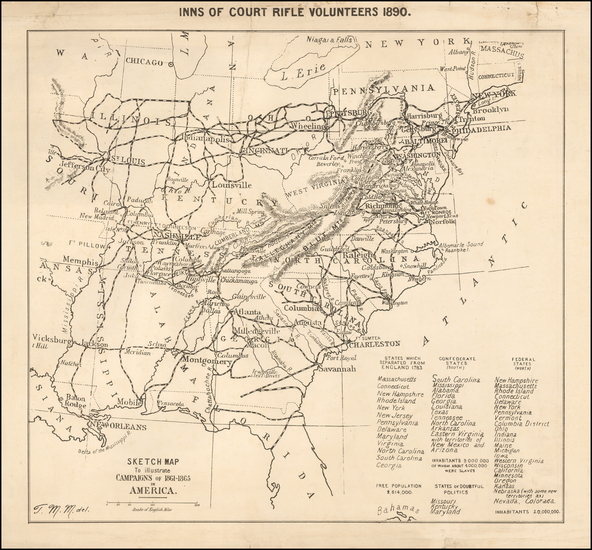 96-United States and Civil War Map By T. Miller Maguire