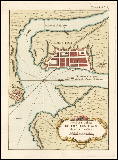 36-Southeast and South Carolina Map By Jacques Nicolas Bellin