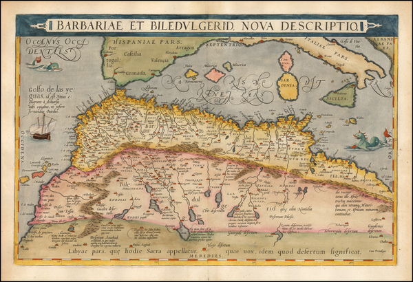 North Africa Map By Abraham Ortelius