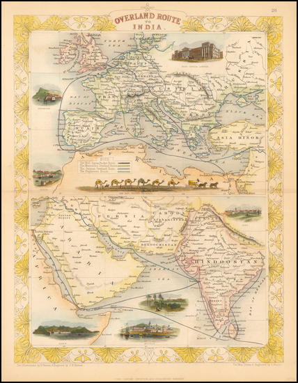 Europe, India & Sri Lanka, Central Asia & Caucasus and Middle East Map By John Tallis