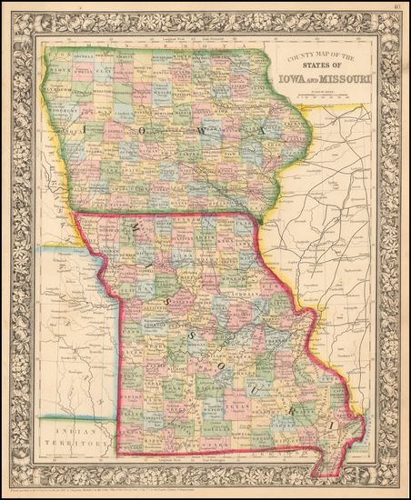33-Iowa and Missouri Map By Samuel Augustus Mitchell Jr.