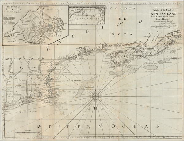 73-New England and Canada Map By Mount & Page / Cyprian Southack