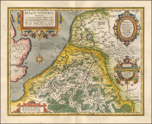 19-Netherlands and Belgium Map By Abraham Ortelius