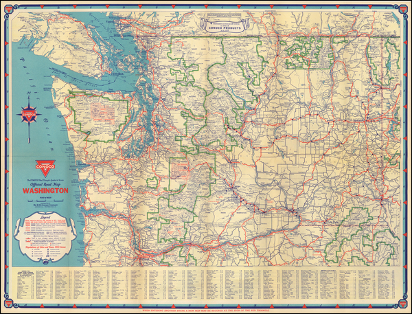 61-Washington Map By Gousha Company