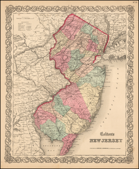 59-New Jersey Map By Joseph Hutchins Colton