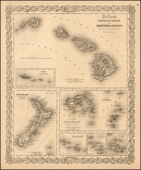4-Hawaii, Hawaii and Other Pacific Islands Map By Joseph Hutchins Colton