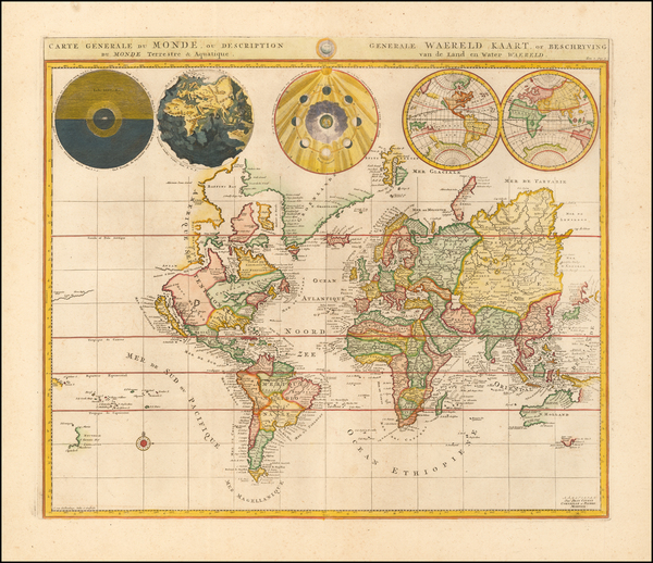 3-World Map By Johannes Covens  &  Cornelis Mortier