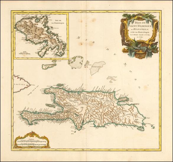98-Caribbean and Martinique Map By Gilles Robert de Vaugondy
