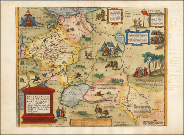 Europe, Russia, Ukraine, India & Sri Lanka, Central Asia & Caucasus and Russia in Asia Map By Abraham Ortelius