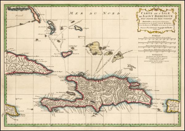 98-Caribbean Map By Jean-Baptiste Bourguignon d'Anville