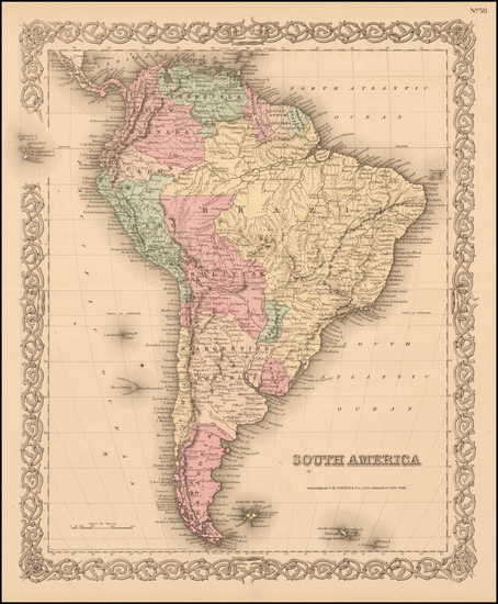 96-South America Map By Joseph Hutchins Colton